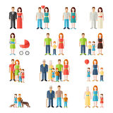 Family flat style people icons. Family flat style people figures parents children kids icons set isolated vector illustration collection Royalty Free Stock Image