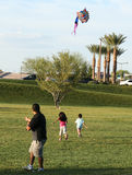 A Family Flies a Kite, Summerlin, Las Vegas Royalty Free Stock Photography