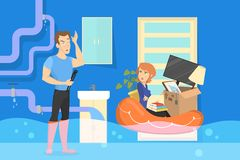 Family in the flooded apartment. Emergency case. And plumbing problem. Accident in the room. Isolated vector illustration in cartoon style stock illustration