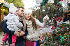 Family at floral market Stock Image