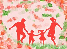 Family and flowers royalty free stock photography