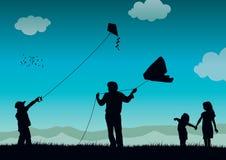 Family flying kite. High details vector illustration of family flying kite Stock Images
