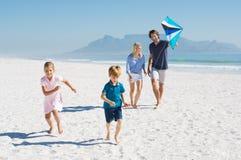Family flying kite Royalty Free Stock Photography