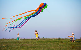 Family flying kite together on green field Stock Photography