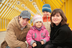 Family on footbridge Royalty Free Stock Photography