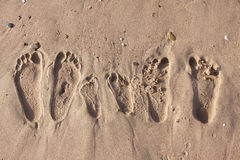 Family footprints on the sand beach Royalty Free Stock Photos