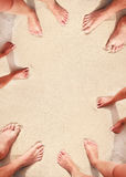 Family footprints in the sand on the seashore Royalty Free Stock Photos