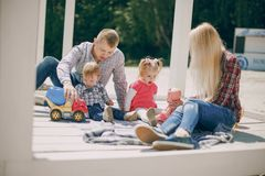 Family in a forest royalty free stock photo