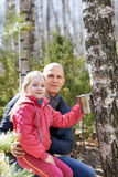 Family in the forest collecting birch sap Royalty Free Stock Photos
