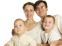 Family of four. Isolated royalty free stock photography