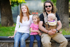 Family of four at beautiful day Royalty Free Stock Photos