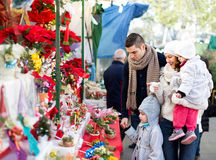 Family of four at Christmas market Stock Photography