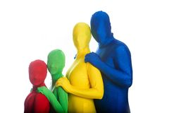 Family of four colorful people Royalty Free Stock Photography