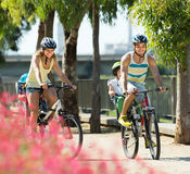 Family of four cycling on street Stock Images
