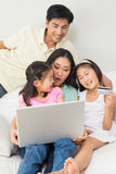 Family of four doing online shopping Royalty Free Stock Photo