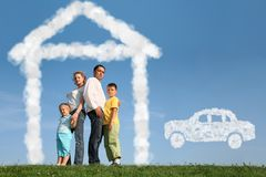 Family of four dreams about house and car, collage Royalty Free Stock Photos