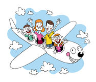 Family of four going on a trip traveling by airplane. Tourism air travel illustration Stock Photos