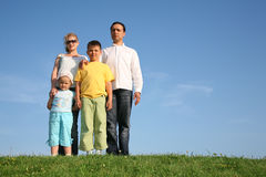 Family of four on grass Stock Images