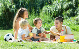 Family of four having picnic Royalty Free Stock Photo