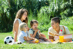 Family of four having picnic. Smiling young family of four having picnic at meadow in summer day Stock Photography