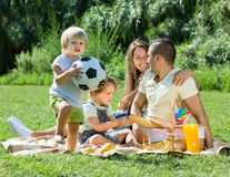 Family of four having picnic Royalty Free Stock Image