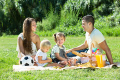 Family of four having picnic Stock Photos