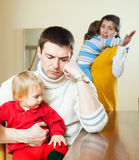 Family of four having quarrel Royalty Free Stock Photo