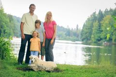 Family Of Four Hiking royalty free stock photo