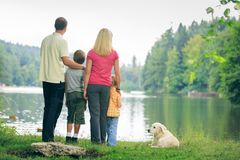 Family Of Four Hiking stock photography