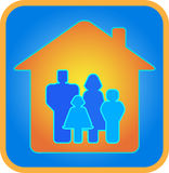 A family of four in the house. Family in the house. Parents and children. Father, mother, son, daughter. Blue background Stock Image