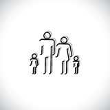 Family of four people abstract icons using line drawing. The symbols are of father, mother, son & daughter in black colored lines with shadow Royalty Free Stock Photography