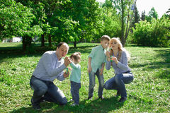 A family of four people are allowed to make soap bubbles. Stock Photos