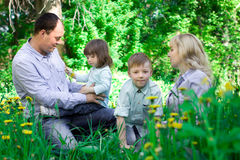 A family of four people having fun in the park. royalty free stock photo