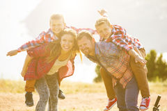 Family of four people riding bikes in the mountains Royalty Free Stock Photography
