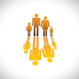 Family of four people symbols- father,mother,son & daughter icon Stock Images