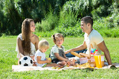 Family of four on picnic Stock Photos