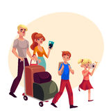 Family of four pushing luggage cart at airport, travelling together Royalty Free Stock Images