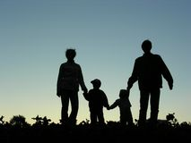 Family of four silhouette Royalty Free Stock Images