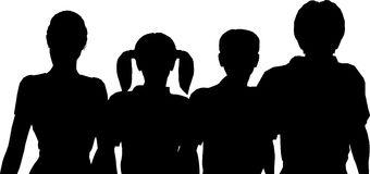 Family of four silhouette royalty free stock image