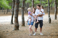 Family of four at summer day Royalty Free Stock Images