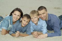 Family of four  in the summer Stock Photography