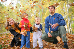 Family of four throw autumnal leaves Stock Photography
