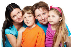 Family of four on white Royalty Free Stock Photo