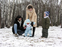 Family of four in winter Royalty Free Stock Image