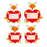 Family foxes with hearts on a white background Royalty Free Stock Photography