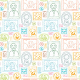 Family framed pictures seamless pattern background Stock Photo
