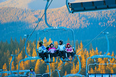 Family friends at ski resort Stock Photography