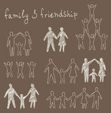 Family and friendship symbols set Royalty Free Stock Images