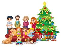 Family in front of christmas tree. Illustration vector illustration