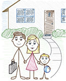 Family in front of their house Stock Images